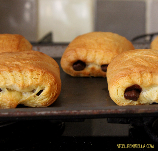 Freshly baked pain au chocolate