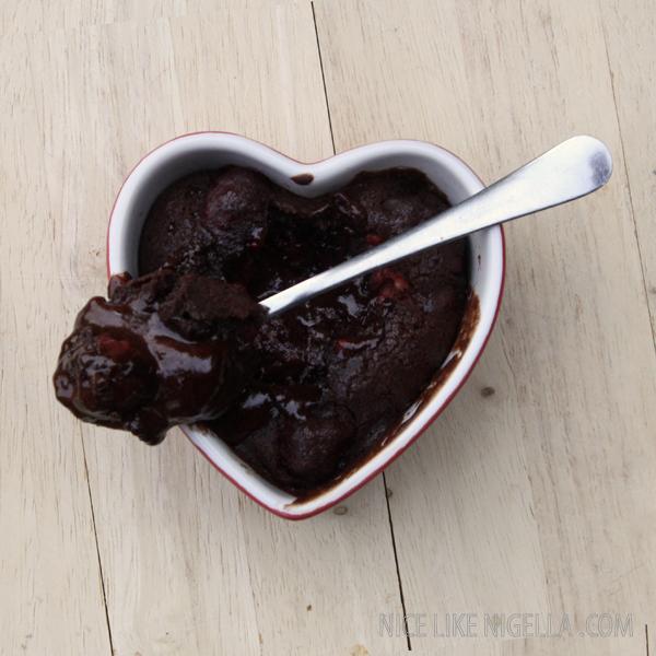 Chocolate raspberry pudding